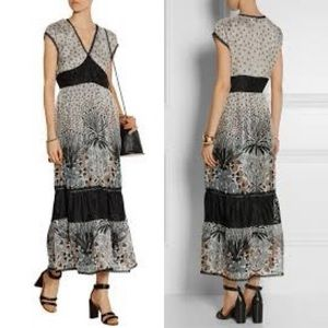 ANNA SUI Silk Blend Chiffon Boho Maxi Dress Sz 8